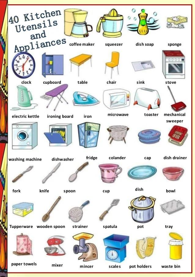 Find 40 Kitchen Utensils And Appliances