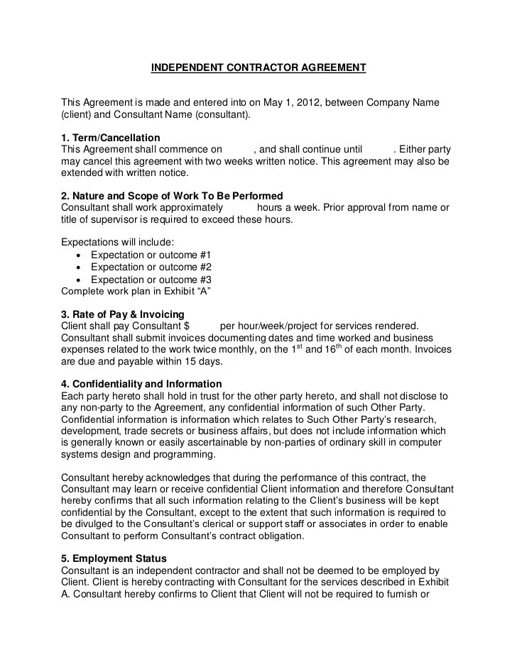 Free Consulting Contract Template independent contractor – Independent Agreement Contract