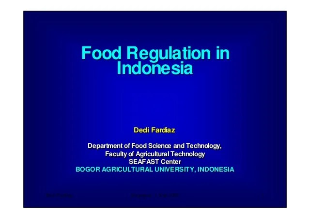 Food Regulations In Indonesia