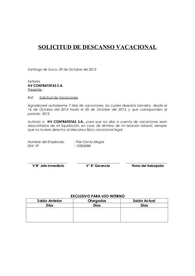 Formato Solicitud De Vacaciones Hv Contratistas S A