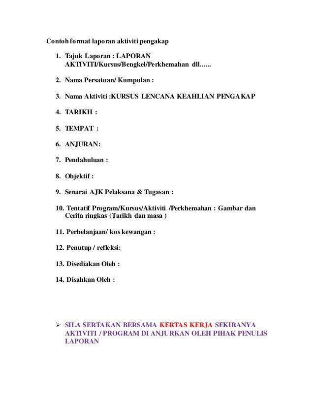 Contoh Format Laporan Aktiviti Program