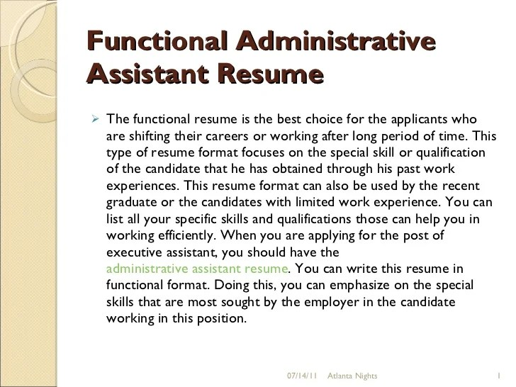 administrative functional resume administrative assistant skills