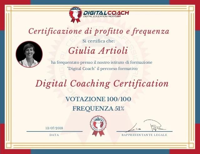 G Artioli Certificazione Digital Coaching Certification