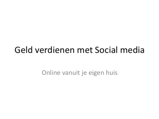 Geld Verdienen met Social-Media