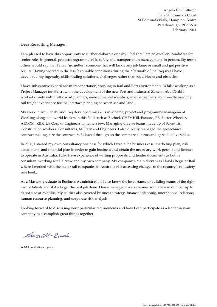 General Cover Letter Generic Business Cover Letter General Generic ...