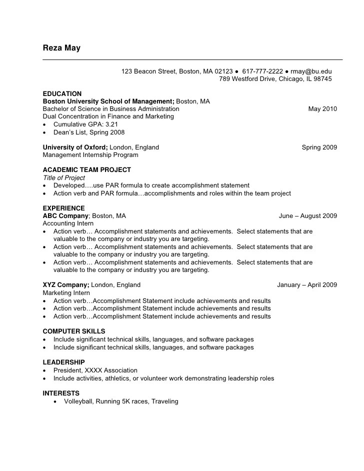 Resume For Internship Template. College Intern Resumes Intern