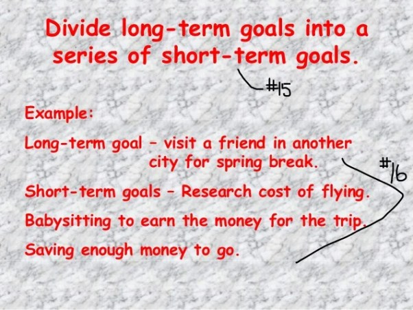 Image result for divide long term and short term goals