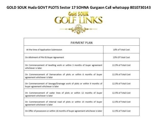 GOLD SOUK Huda GOVT PLOTS Sector 17 SOHNA Gurgaon Call whatsapp 8010730143