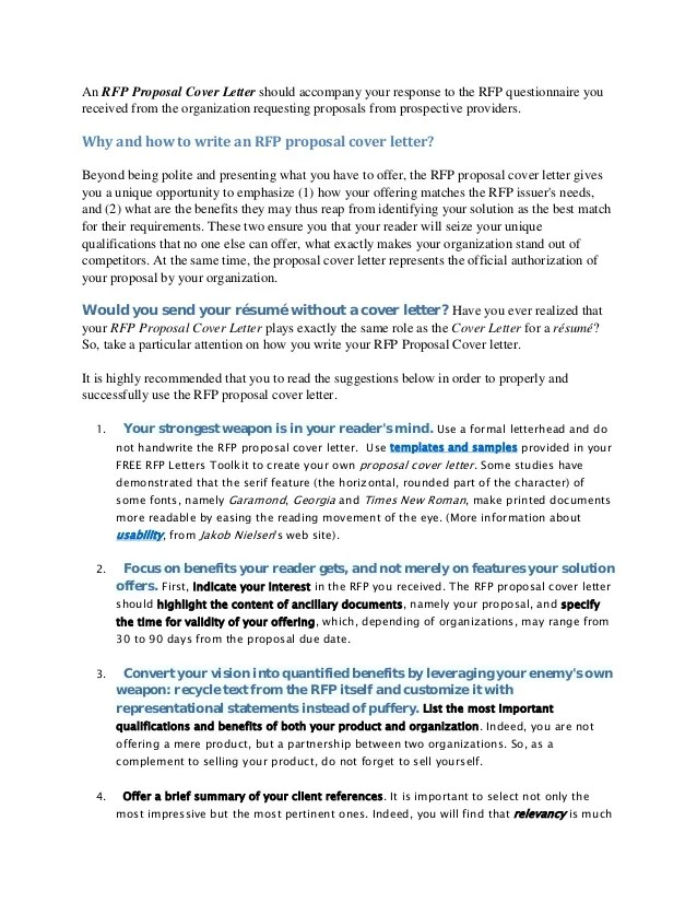 Construction Bid Proposal Cover Letter - FREE DOWNLOAD