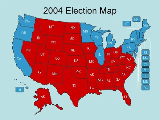 Govt Chap  16 1   2000 Election Map Red Republican   Blue Democrat  46  2004