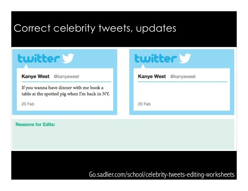 Godlier School Celebrity Tweets Editing Worksheets