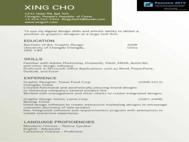 great artist resume example in 2015