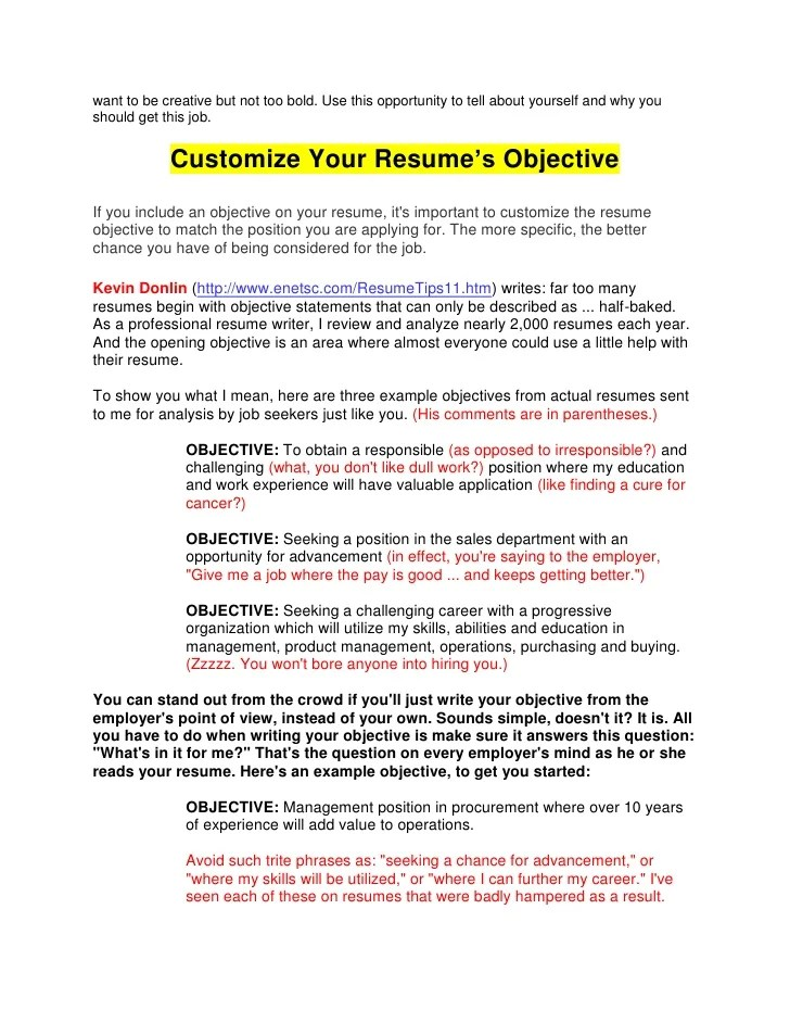 Should You Have An Objective On Your Resume - Gse.Bookbinder.Co