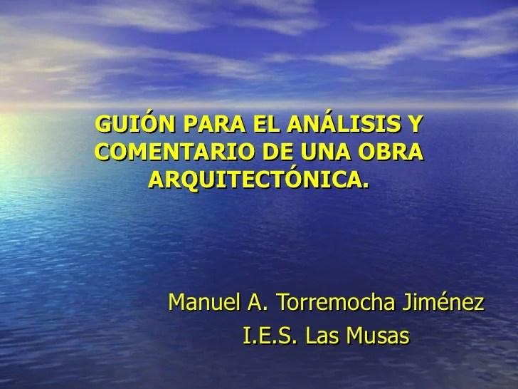 Guión para el análisis de una obra de arquitectura