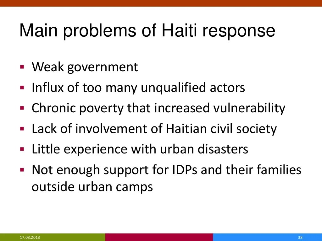 Main Problems Of Haiti Response