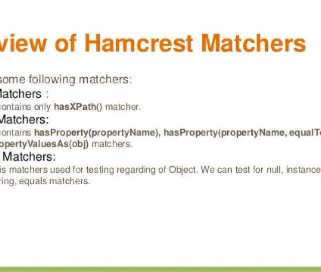 9 Overview Of Hamcrest Matchers