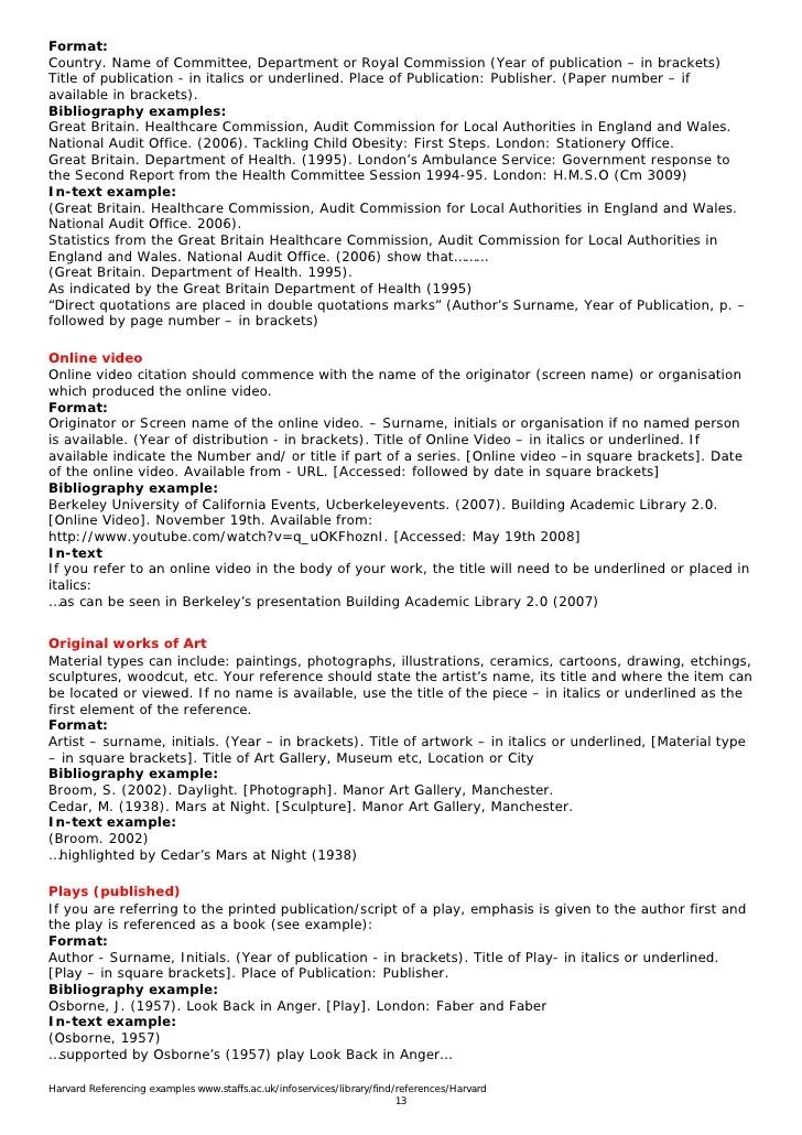 Harvard Style Resume. Harvard Referencing Examples 13. Harvard