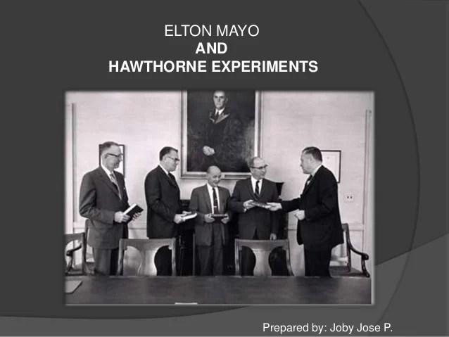 george elton mayo hawthorne experiments
