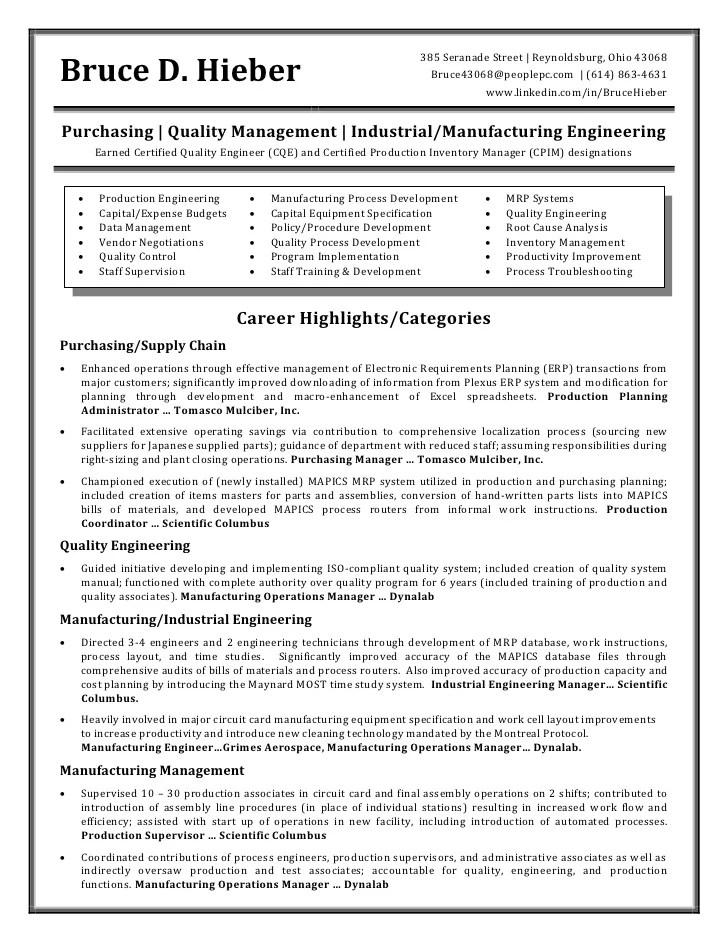 Manufacturing Engineering Resume | Cipanewsletter