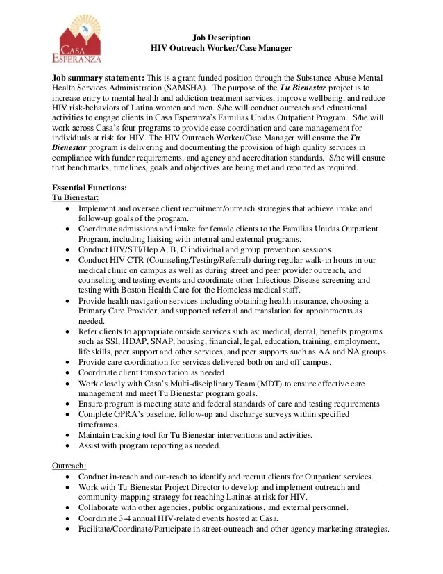 casa esperanza inc hiv outreach manager job description