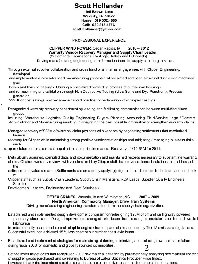 resume for manufacturing