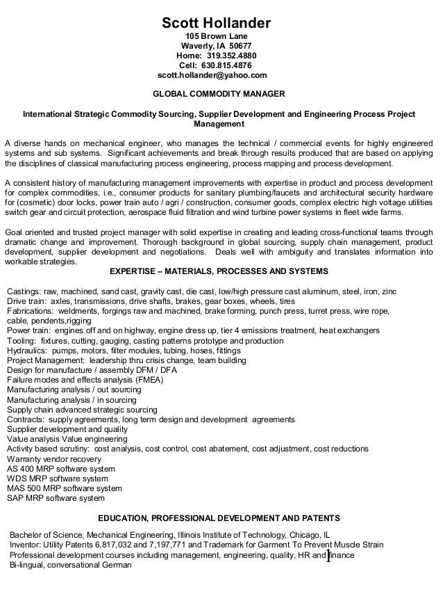 hollander resume international strategic sourcing supplier development