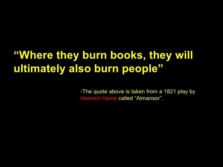 Image result for first they burn books