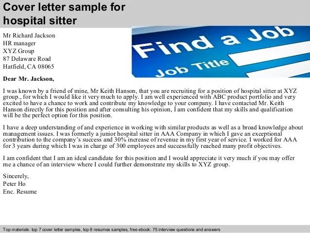 Hospital Greeter Resume Sitter Cover Letter Restaurant