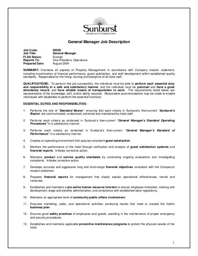maintenance manager job description sample