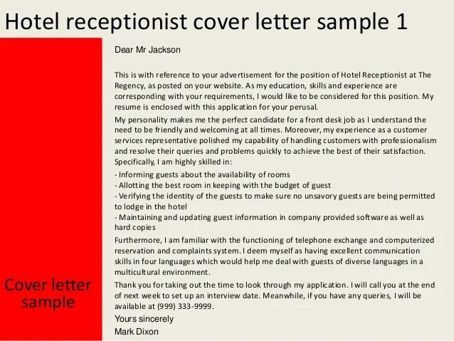 hotel receptionist duties for resume