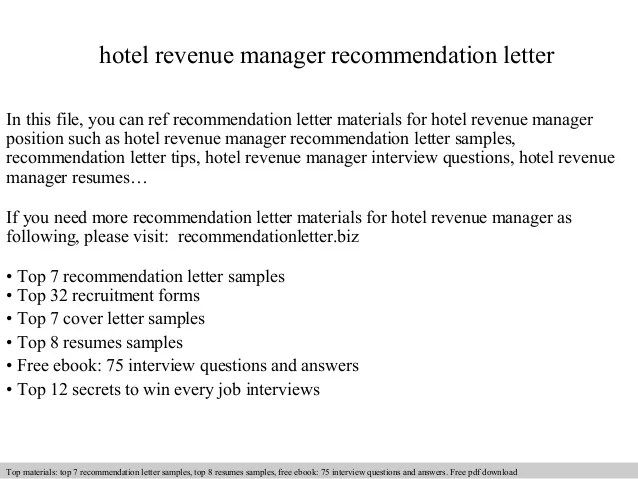 Revenue Manager Resume Hotel Vp Finance In