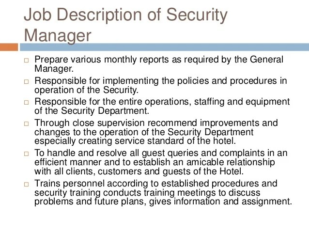 Security Job Information Manager Technology Description