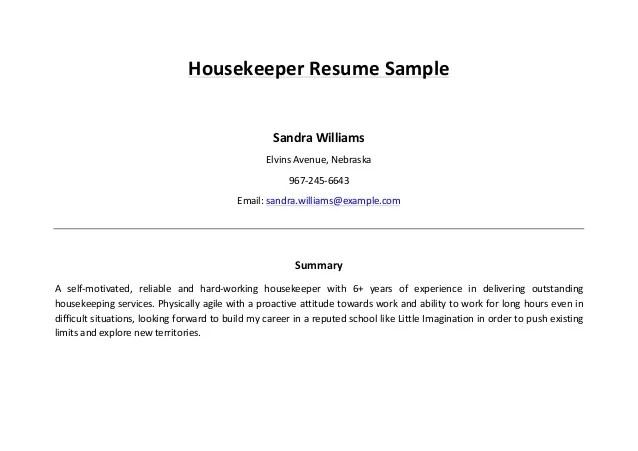 Housekeepers Resume Examples. Housekeeper Resume Sample