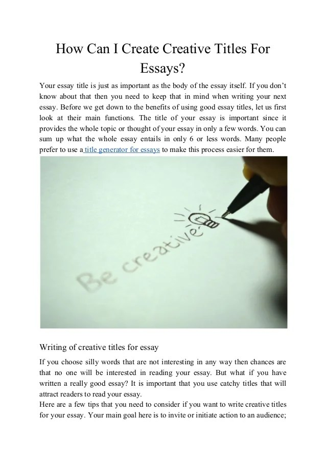 creative titles for college essays