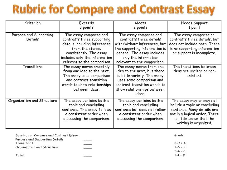 3rd grade compare and contrast essay examples