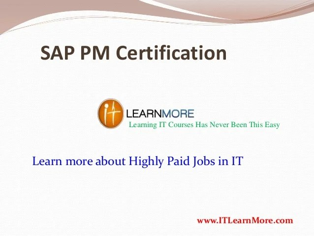 How To Get Sap Pm Certification