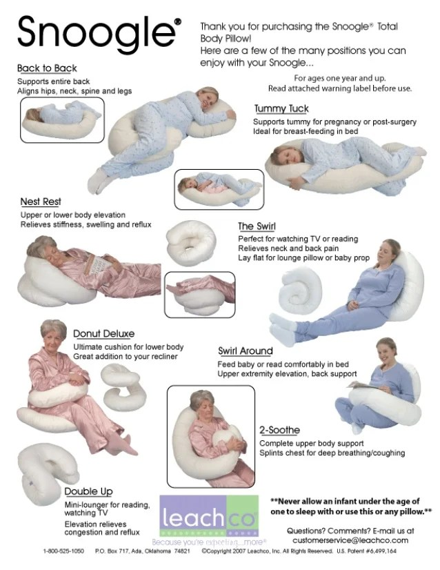 use leachco snoogle total body pillow