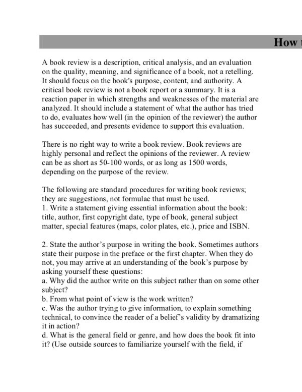 how to write a book review # 7