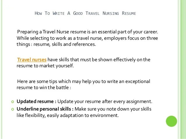 a good travel nursing