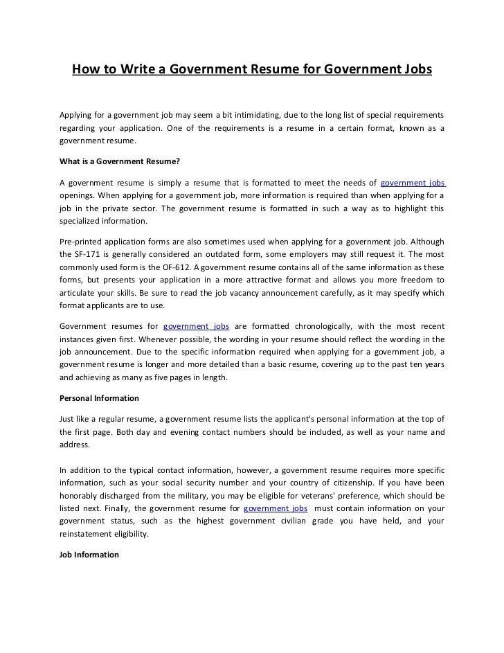 Resume samples government jobs