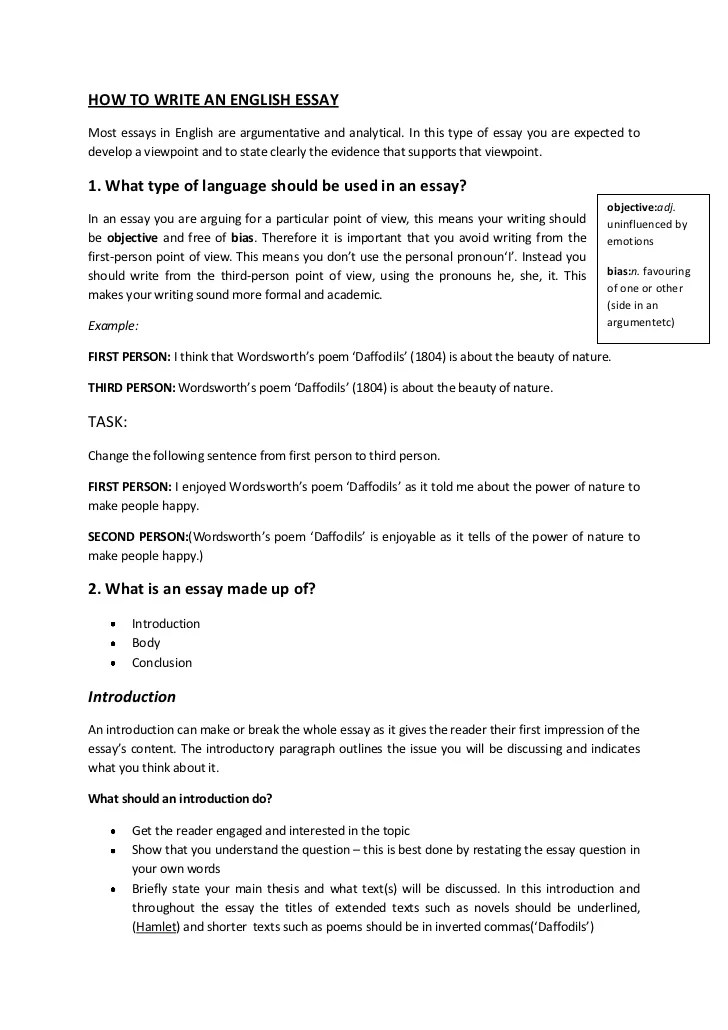 Thesis writing first person : How to write a good college essay
