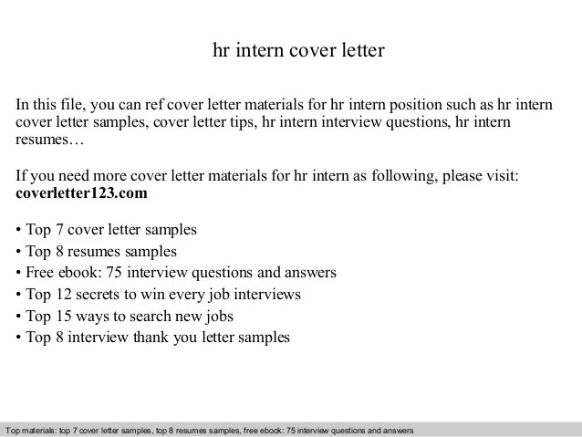 Hr Intern Cover Letter