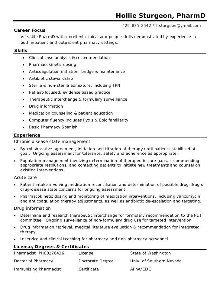 Pharmacy Intern Resume. Sample Objective For Resume Objectives