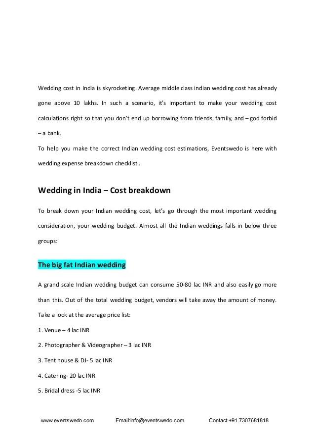 Indian Wedding Cost Breakdown Pdf Budget To Lavish Weddings