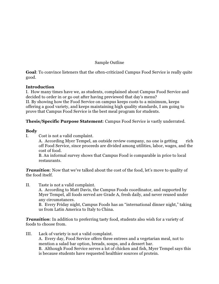 An Informal Essay Informative Essay Outline Example Complaint Speech