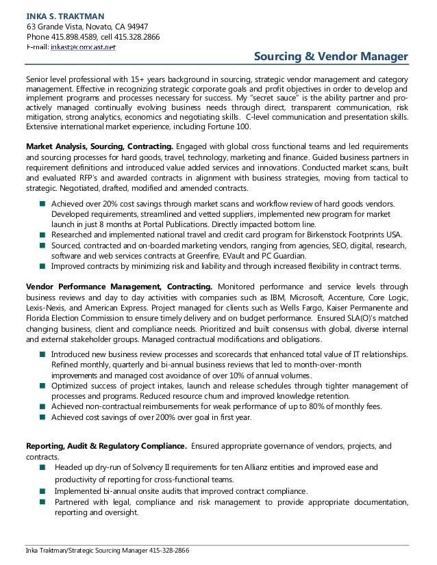 management resume inka traktman strategic sourcing manager sourcing