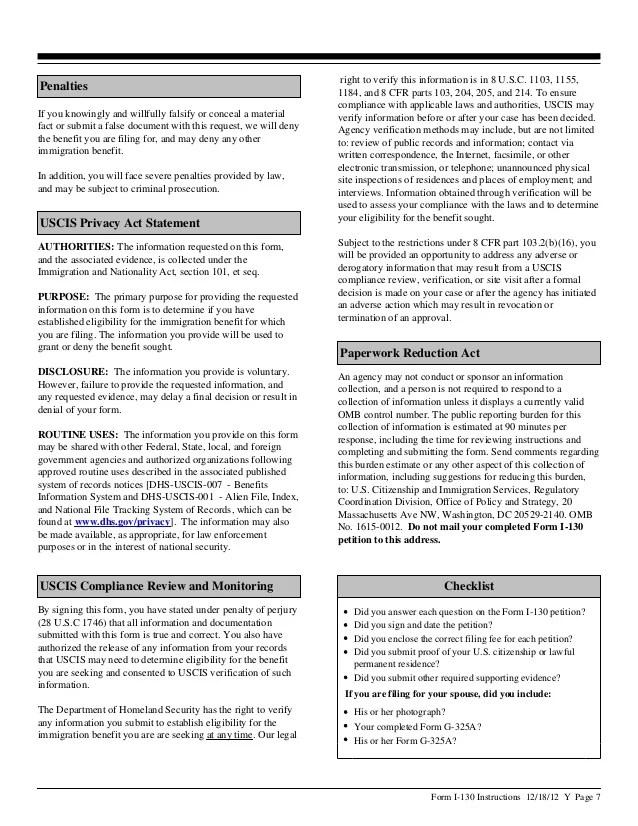 Green Card Application I 130 Instructions Cardss