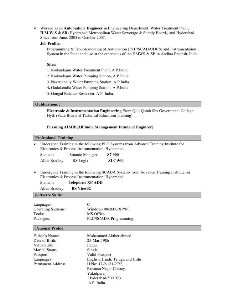 resume sle for freshers instrumentation engineer