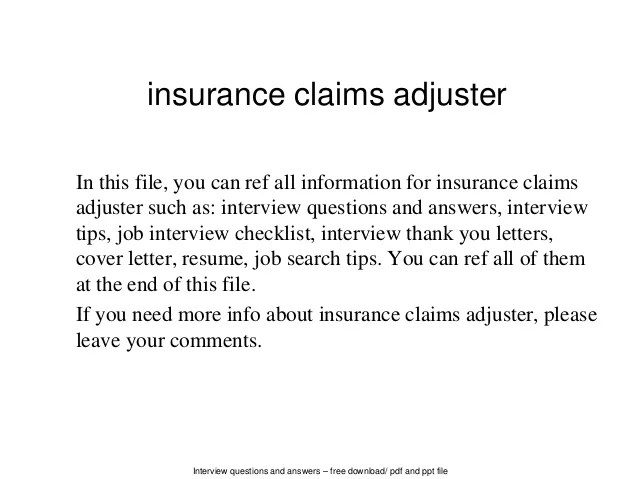 Claims Examples Letter Adjuster Cover