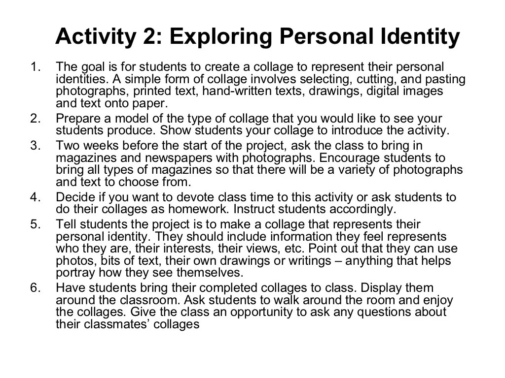 Activity 2 Exploring Personal Identity1